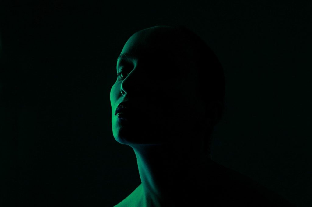 green, face, light